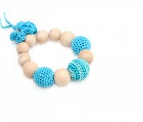 Aqua blue and turquoise Baby Teething toy with crochet wooden beads