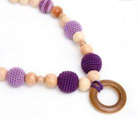 Eco - friendly Nursing Juniper Necklace/Teething necklace - Breastfeeding. Teething toy with wooden ring - purple, lavender, lilac.