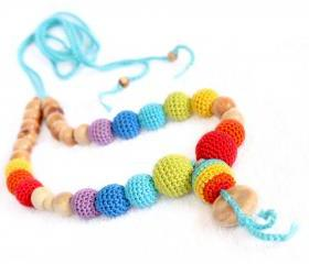 Double rainbow juniper nursing necklace