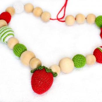 Organic Nursing necklace Teething necklace amigurumi toy Strawberry in red, green and white.